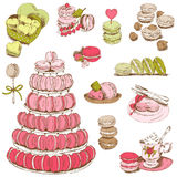 Macaroons and and Dessert Collection Stock Photography