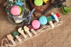 Macaroons dessert traditional french colorful and sweet. Stock Images