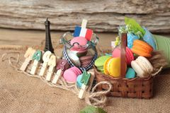 Macaroons dessert traditional french colorful and sweet. Royalty Free Stock Images