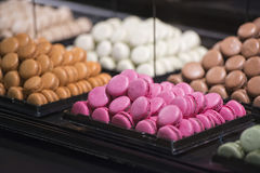 Macaroons on display stand Royalty Free Stock Photography