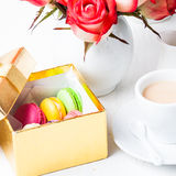 Macaroons in gift box Stock Photo