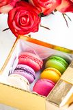 Macaroons in gift box Royalty Free Stock Photos