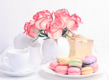 Macaroons in gift box Stock Photos