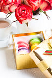 Macaroons in gift box Royalty Free Stock Image