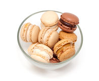 Macaroons in a glass bowl Stock Images