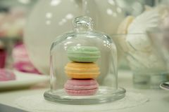 Macaroons in a glass jar. Some macaroons in a glass bell jar on a white wooden table with a robin egg blue background and a pink checkered napkin. Vintage Style Stock Photography