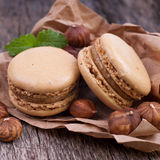 Macaroons with hazelnuts Stock Photo