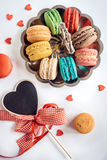 Macaroons and heart Royalty Free Stock Photo
