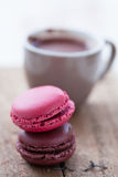 Macaroons and hot chocolate Stock Photo