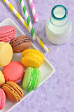 Macaroons with jar glasses Royalty Free Stock Photo
