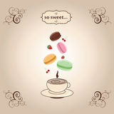 Macaroons jumping under cup of hot tea. Vintage illustration with macaroons, cup of coffee, cherry and strawberry. Decoration lace Stock Image