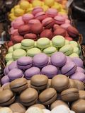 Macaroons on La Boqueria market, Barcelona royalty free stock photography