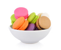 Macaroons or macaron in the bowl Royalty Free Stock Image