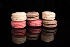 Macaroons, macaron, french almond cookies. Colorful macarons, top view, macro,close-up. French Almond cookies. Traditional macaroon stock photo