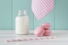 Macaroons (macarons) breakfast Royalty Free Stock Photography