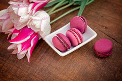 Macaroons - macarons and tulips Stock Images