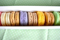 Macaroons. A macaroon is a type of small circular cake, typically made from ground almonds or coconut, with sugar and egg white. Macaroons are often baked on Stock Image