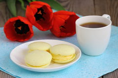 Macaroons. Makarons on a plate with coffee Shallow DOF royalty free stock image