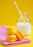 Macaroons and milk Royalty Free Stock Image