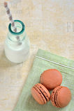 Macaroons and milk royalty free stock images