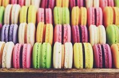 Macaroons mix - pistachio, strawberry, blackberry, lavender, vanilla Stock Photography