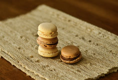 Macaroons on a napkin Stock Images