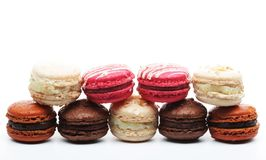 Macaroons over white background close up stock images