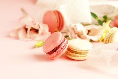 Macaroons in pastel colors with flowers on a pale pink background.Holiday background. Copy space royalty free stock photography