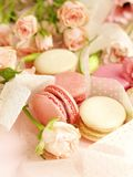 Macaroons in pastel colors with flowers on a pale pink background.Holiday background. Copy space royalty free stock images