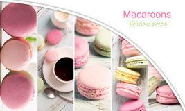 Macaroons photo collage Stock Photo