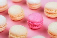 Macaroons in a pink background. Stock Photo