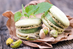 Macaroons with pistachio Stock Photos