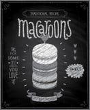 Macaroons plakat - chalkboard styl Obrazy Stock