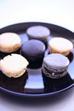 Macaroons in plate Stock Photography