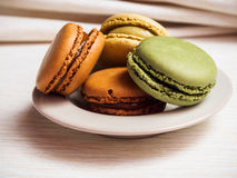 Macaroons on a Plate Stock Photos