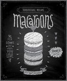 Macaroons Poster - chalkboard style. Stock Images
