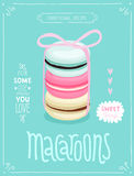 Macaroons Poster - template for your design. royalty free illustration