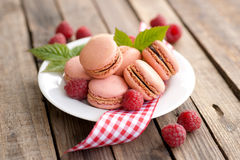 Macaroons, raspberries Stock Photo