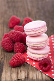 Macaroons with raspberry Royalty Free Stock Images