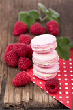 Macaroons with raspberry Stock Photography