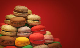 Macaroons on red background Stock Images