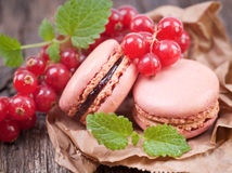 Macaroons with redcurrant Royalty Free Stock Photography