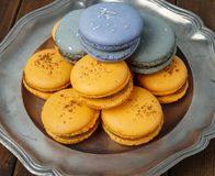 Macaroons served on a silver plate Stock Images