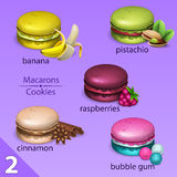 Macaroons set with tastes 2 Stock Images