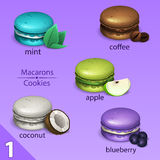 Macaroons set with tastes Royalty Free Stock Images