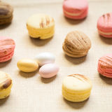 Macaroons with sweet eggs on a linen napkin Stock Photography