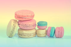 Macaroons. Sweet macaroons on pastel tone background Royalty Free Stock Images