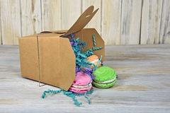 Macaroons in takeout box Royalty Free Stock Images