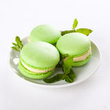 Macaroons. Three light green macaroons on plate with some fresh mint leaves Stock Image