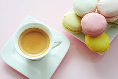 Macaroons To Coffee Stock Photography